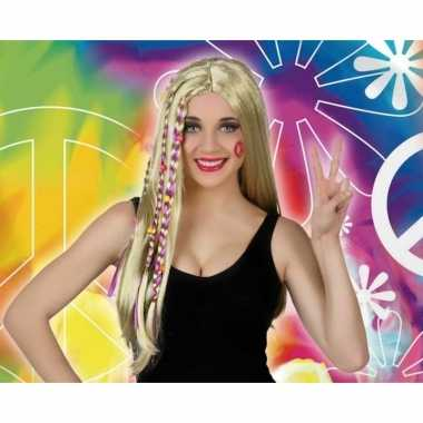 Blonde hippie / flower power verkleed pruik voor dames