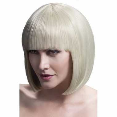 Professionele blonde boblijn damespruik