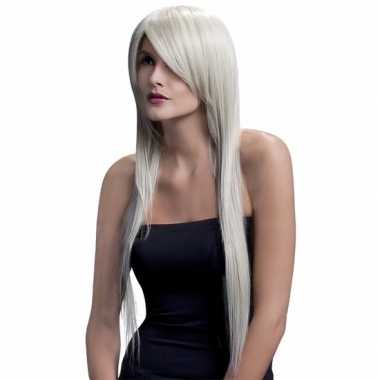 Professionele lange stijle damespruik blond