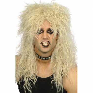 Ruige blonde rockers pruik