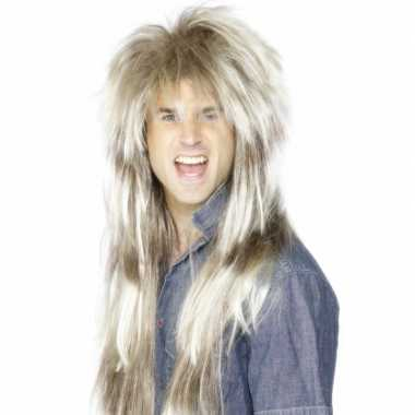 Ruige rockster pruik blond haar