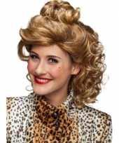Krullenpruik dames blond met knotje
